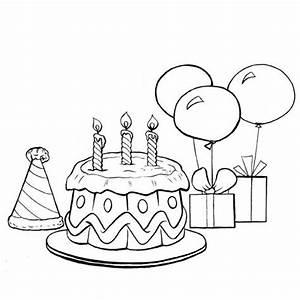 Dessin Gateau Anniversaire : le g teau d 39 anniversaire et les ballons en coloriage ~ Melissatoandfro.com Idées de Décoration