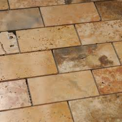 scabos travertine 2x4 polished brick mosaic tile