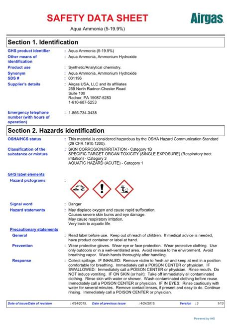 airgas specialty products safety data sheets