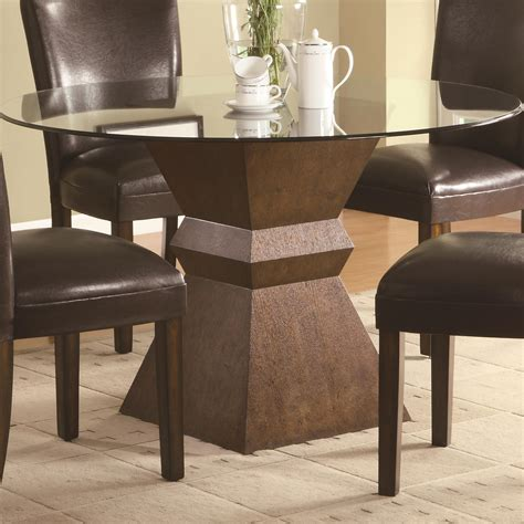 Carving Brown Wooden Base With Round Glass Top Table