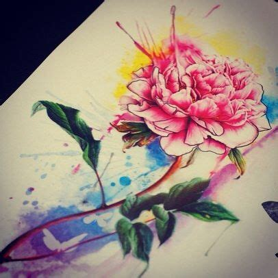 watercolor peony tattoo artist aleksandra katsan