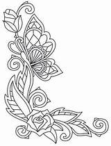 Corner Rose Border Patterns Coloring Drawing Bone Burning Flowers Stencil Woodburning Colour Sketch Template Quilling Butterfly Urbanthreads Afkomstig Embroidery sketch template