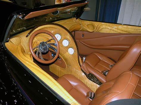 Awesome Carved Wood Interior On A Hot Rod.