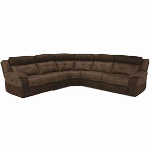 denver brown microfiber 5 piece 2x power reclining sectional With 6 piece microfiber sectional sofa