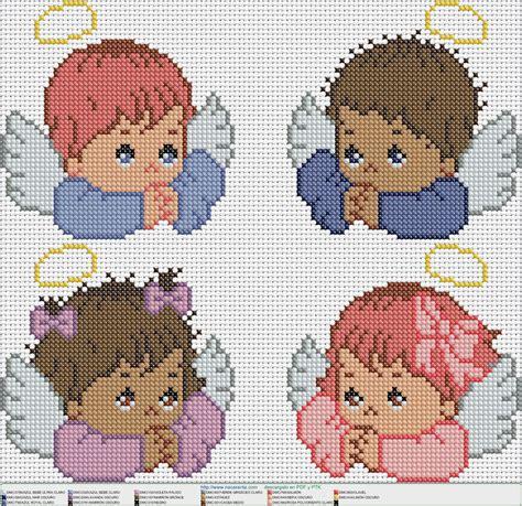 4 angelitos EN PUNTO DE CRUZ Punto de cruz angelitos