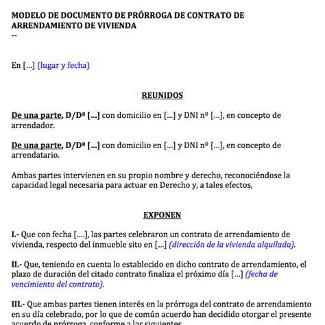 documento de pr 243 rroga de contrato de alquiler de vivienda 187 y contratos
