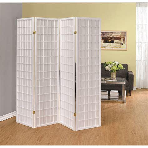 foldable room divider coaster folding screens 902626 four panel white folding screen del sol furniture room
