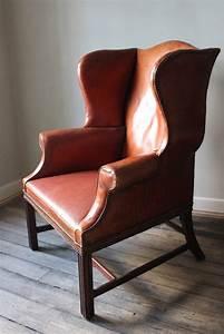 Circa 1930s English Leather Wingback Armchair Furniture