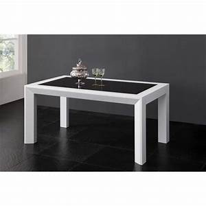 Table A Manger : table salle manger 160cm blanc et noir achat vente table salle a manger pas cher couleur ~ Teatrodelosmanantiales.com Idées de Décoration