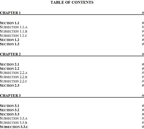 table of contents template 30 free professional table of contents templates templatehub