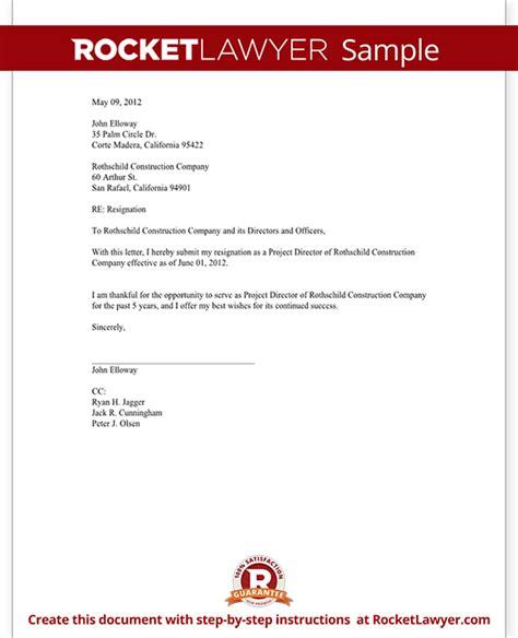 director resignation letter template  sample