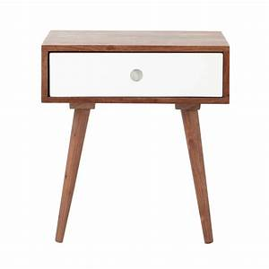 solid sheesham wood vintage bedside table with drawer w With table de nuit vintage