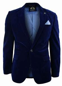 Mens Velvet Royal Blue Blazer Jacket Slim Fit Smart Casual