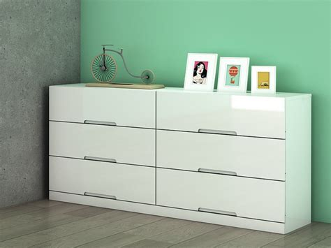 commode 6 tiroirs mdf blanc laqué l158 cm