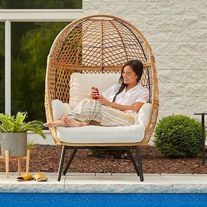 Egg Chair Wicker Boho Stationary Ventura Better