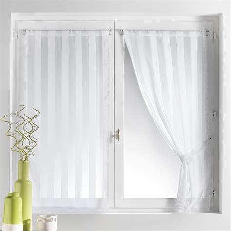 magasin de rideaux et voilages voilage vitrage 224 passant rayure tiss 233 e 70x130cm embrasse lot de 2 brunelle blanc