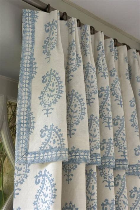 attached valance drapery soft blue and white country