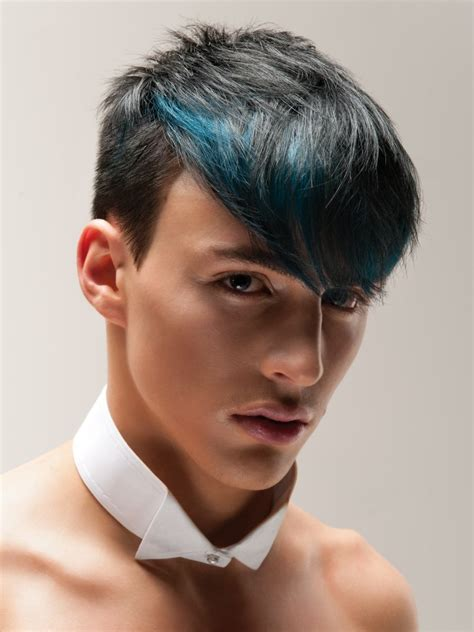 Buzz Cut Short Mens Hair And Longer Top Hair With A Blue