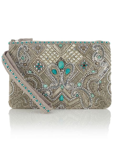 essoueria beaded zip top clutch bag silver accessorize