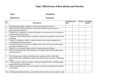 questionnaire recruitment selection