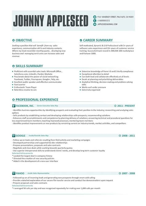 Resume Ideas by Resume Template Johnny Appleseed Modern Resume Template