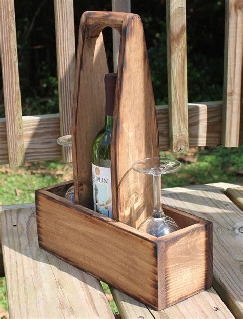 rustic wood wine caddy wooden wine bottle