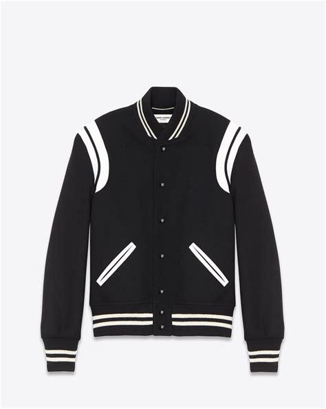 saint laurent classic teddy jacket black wool  ivory leather yslcom