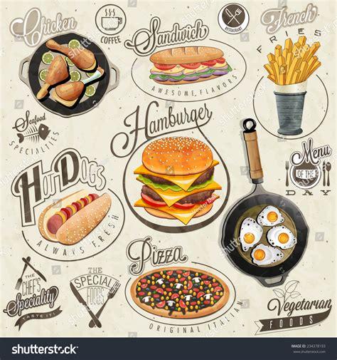 vintage cuisine retro vintage style fast food designs set of calligraphic