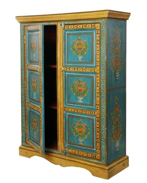 Painted Cupboard by Turquoise Blue Painted Panel Cupboard Iris Furnishing