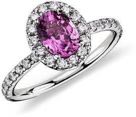 pink sapphire engagement ring pink sapphire and ring in 18k white gold 7x5 mm blue nile
