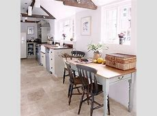 Limestone flooring in kitchen with stone painted units and