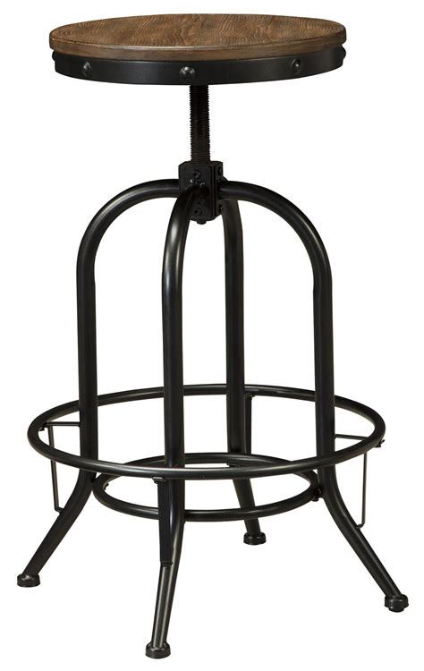 signature furniture warranty swivel stool with metal base adjustable height wood seat by signature design by