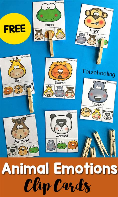 animal emotions clip cards totschooling toddler 764 | Animal Emotions Clip Cards