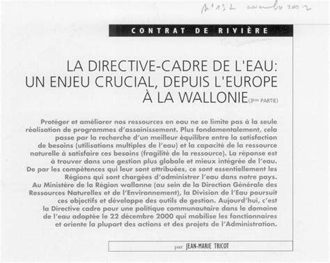 directive cadre espace vie contrat de rivi 232 re dyle gette
