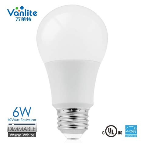 2700k e26 120v led light bulbs a19 dimmable warm white 6w