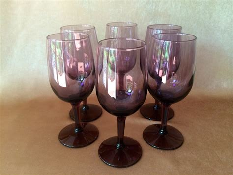 Purple Wine Glasses Vintage Libbey Wine Amethyst Barware