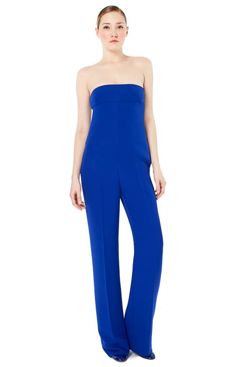blue jumpsuit valentino strapless jumpsuit in blue china blue lyst