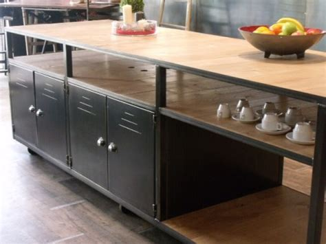 meuble cuisine en metal ilot de cuisine bois métal sur mesure meuble de style
