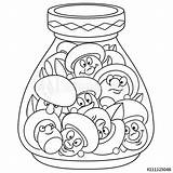 Jar Cartoon Coloring Pickles Pickled Mushrooms Clip Pickle Vector Champignon Funny Illustrations Vectors Concept Icon Happy Patch Label Sticker Similar sketch template