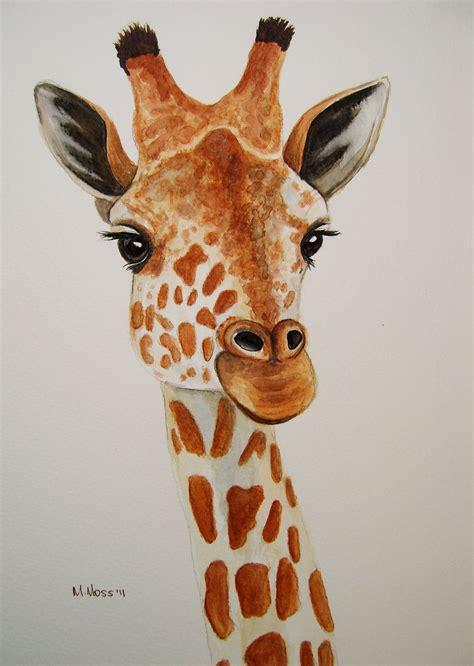 giraffe portrait  watercolour giraffe portrait painted