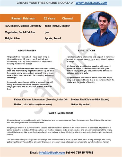 Marriage Resume Sles In India by 9 Sle Biodata Format For Marriage With Bonus Writing Tips