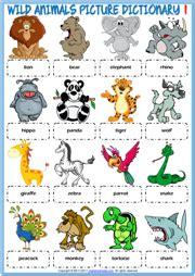 wild animals esl vocabulary worksheets