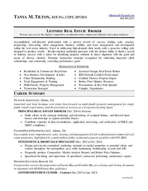 broker resume 2015