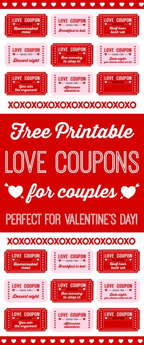 Free Printable Love Coupons For Couples On Valentine's Day
