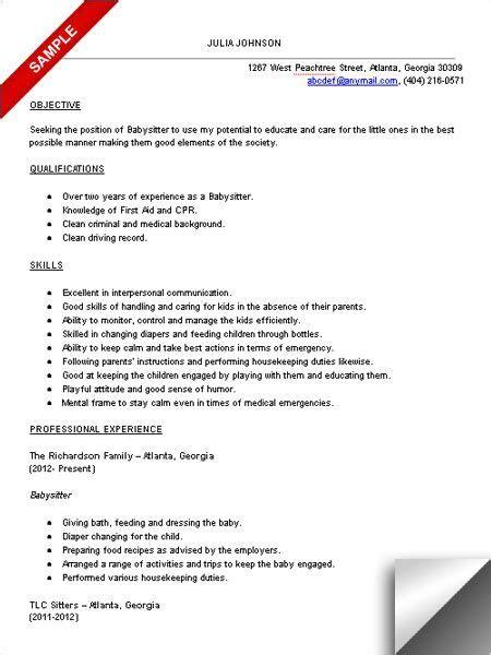 babysitter resume sample babysitter resume lpn resume