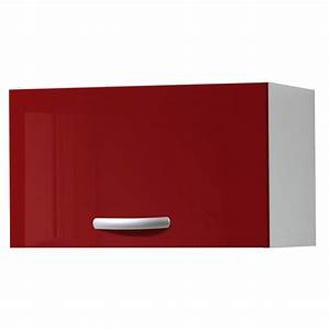Meuble Cuisine Haut : meuble de cuisine haut 1 porte rouge brillant h35x l60x p35cm leroy merlin ~ Teatrodelosmanantiales.com Idées de Décoration