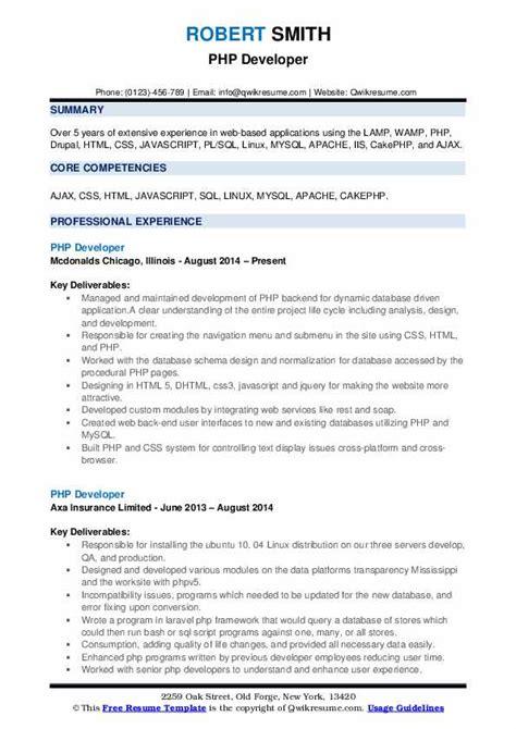 Resume Html by Php Developer Resume Sles Qwikresume