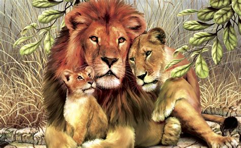Big Cats Lions Painting Art Three 3 Animals Lion Wallpaper