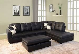 Low profile black faux leather sectional sofa w right arm for Small spaces sectional sofa black faux leather