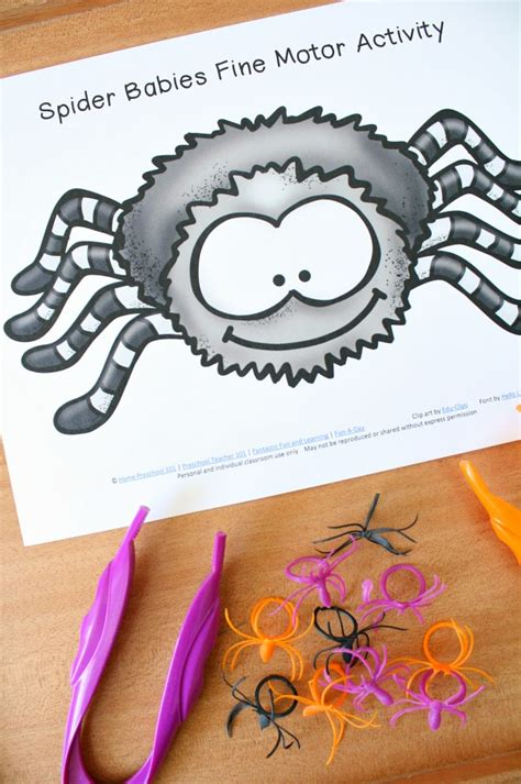 spider babies motor play fantastic amp learning 664 | Spider Babies Fine Motor Activity Halloween and Spider Theme Play for Preschool with Free Printable